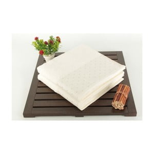 Sada 2 krémovobielych bavlnených uterákov Patricia, 50 x 90 cm