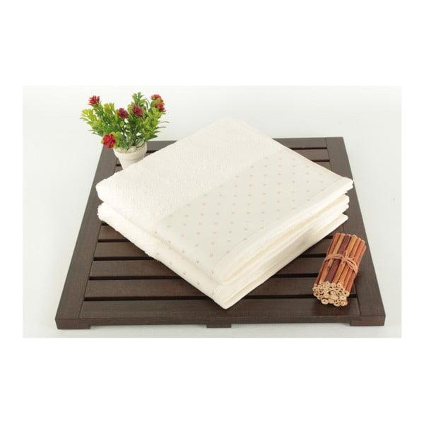 Sada 2 krémových bavlnených uterákov Patricia, 50×90cm