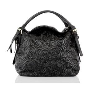 Čierna kožená kabelka Glorious Black Flora
