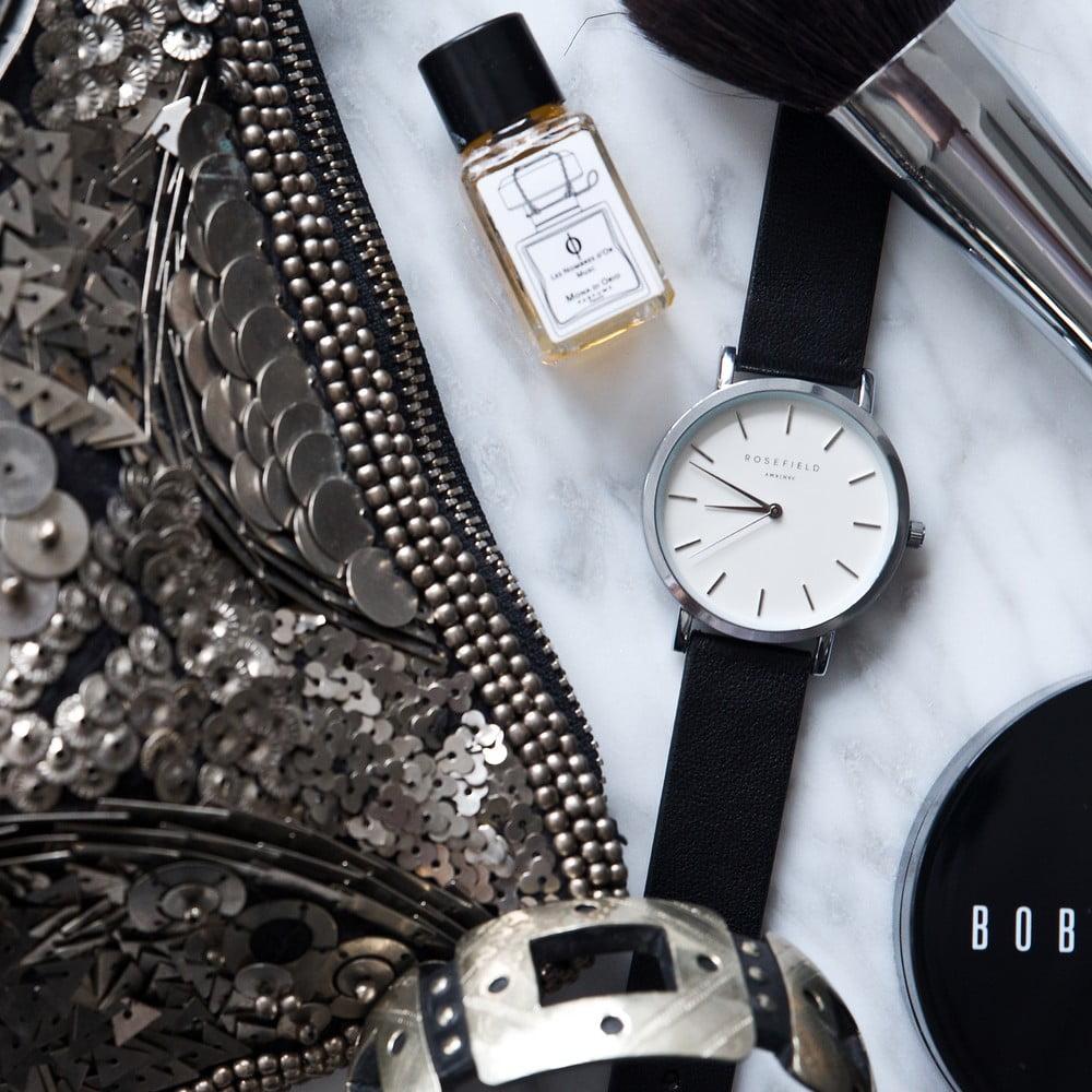 566506d31 Strieborno-čierne dámske hodinky Rosefield The Gramercy | Bonami