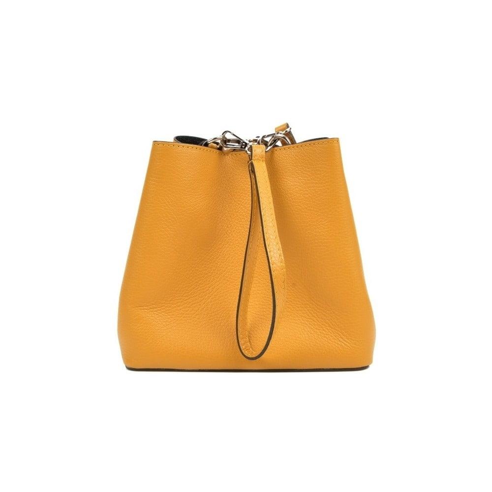 Žltá kožená kabelka Mangotti Bags Catarina