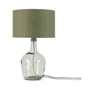 Stolová lampa s tmavozeleným tienidlom a konštrukciou z recyklovaného skla Good&Mojo Murano, ⌀ 30 cm