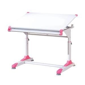 Biely písací stôl s ružovými alebo zelenými detailmi 13Casa Color