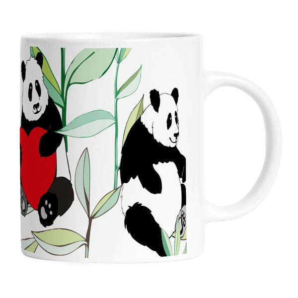 Keramický hrnček Panda With Bamboo, 330 ml
