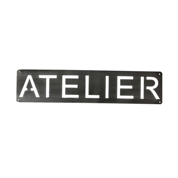 Kovový nástenný nápis Atelier, 50 cm