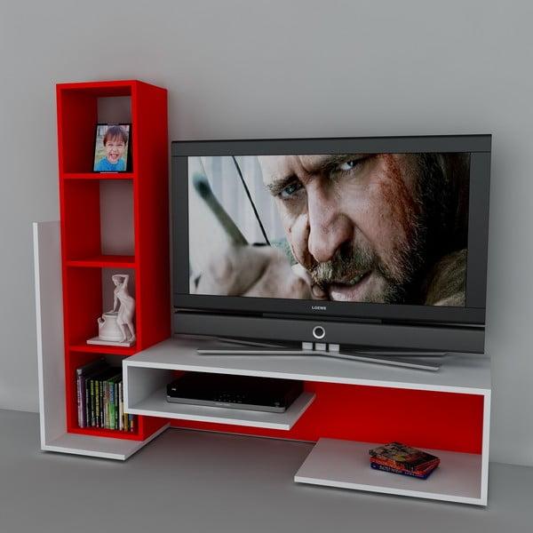 Televízna stena Bend White/Red, 39x153,6x130,9 cm