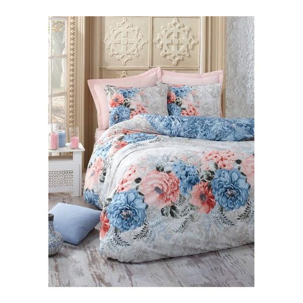 Obliečky na jednolôžko s plachtou z bavlny Floralista, 160 × 220 cm