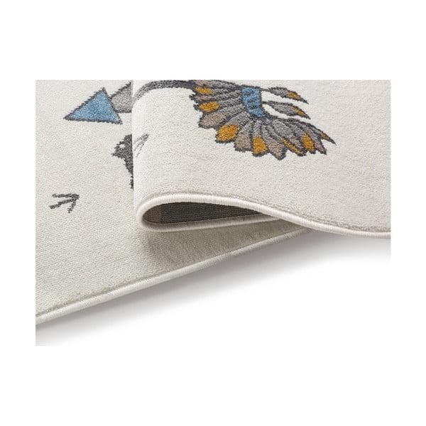 Svetlý koberec s indiánskym motívom KICOTI Pearl, 80 × 150 cm