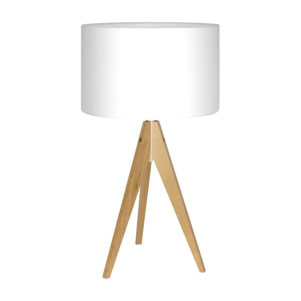 Biela stolová lampa Artist, breza, Ø 33 cm
