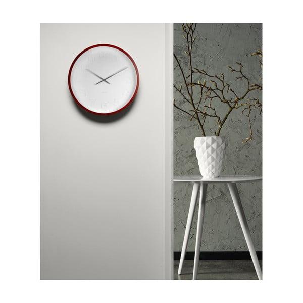 Červeno-biele nástenné hodiny Karlsson Mr Woody Numbers, ⌀ 37,5 cm
