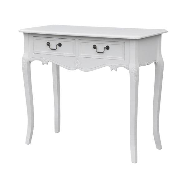 Biely konzolový stolík z topoľového dreva s 2 zásuvkami Livin Hill Rimini