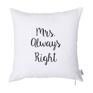 Biela obliečka na vankúš s výšivkou Apolena Mrs Always Right, 41 x 41 cm
