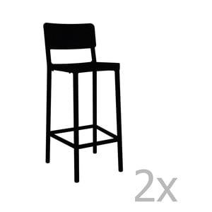 Sada 2 čiernych barových stoličiek vhodných do exteriéru Resol Lisboa, výška 102,2 cm
