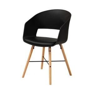 Čierna jedálenská stolička s bukovými nohami Interstil Luna