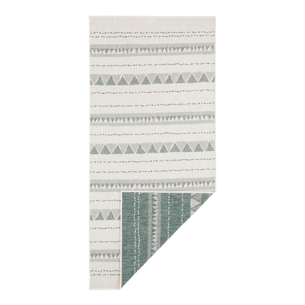 Zeleno-krémový vonkajší koberec Bougari Bahamas, 80 x 250 cm