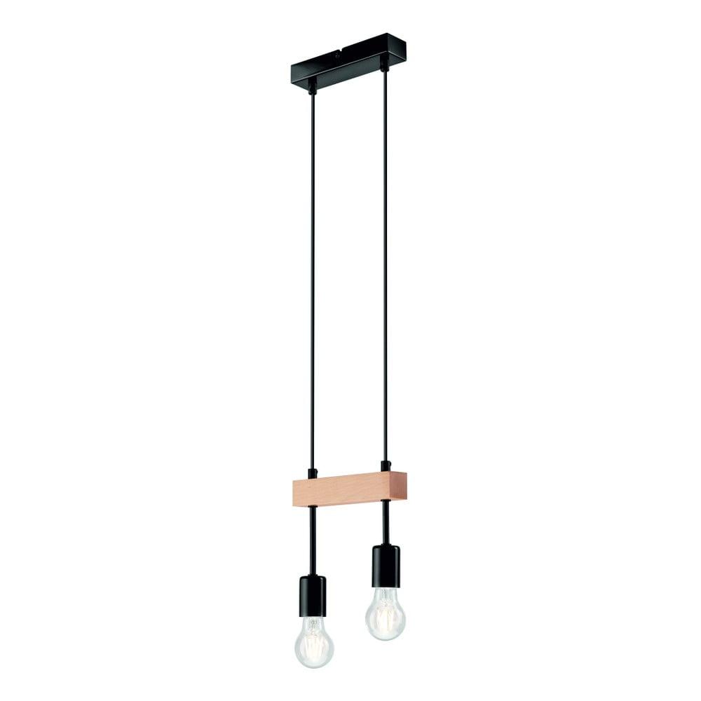 Čierne závesné svietidlo pre 2 žiarovky Lamkur Orazio