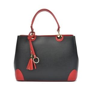 Čierna kožená kabelka s červenými detaily Isabella Rhea Mismo
