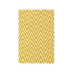 Vlnený koberec Zig Zag Yellow, 90x60cm