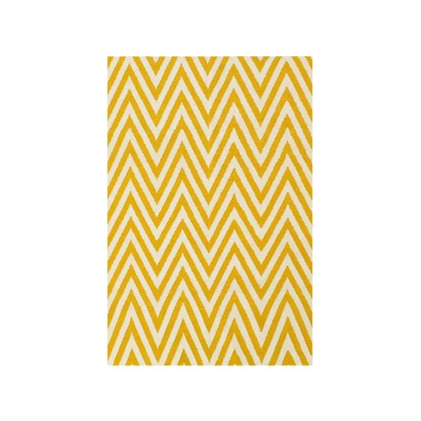 Vlnený koberec Zig Zag Yellow, 180x120 cm