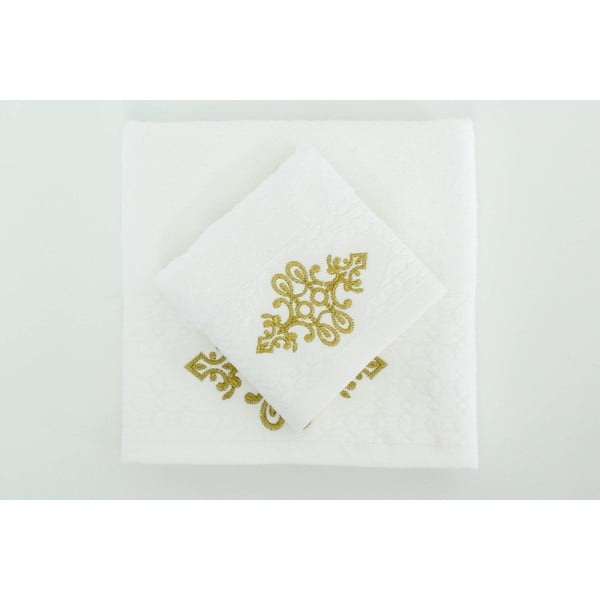 Sada 2 uterákov Isle White Gold, 30x50 cm/50x90 cm