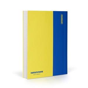 Zápisník FANTASTICPAPER A6 Lemon/Blue, štvorčekový