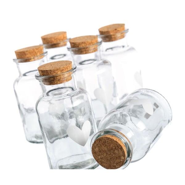 Sada 6 fľaštičiek Heart Glass