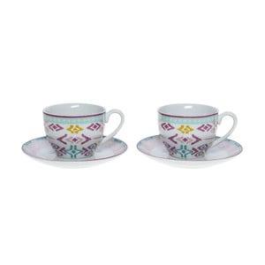 Set porcelánových hrnčekov a tanierikov Romantic, 6 ks (200 ml)