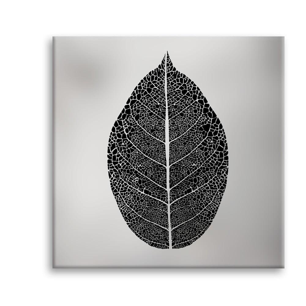 Obraz Styler Canvas Silver Uno Black Leaf, 65 × 65 cm