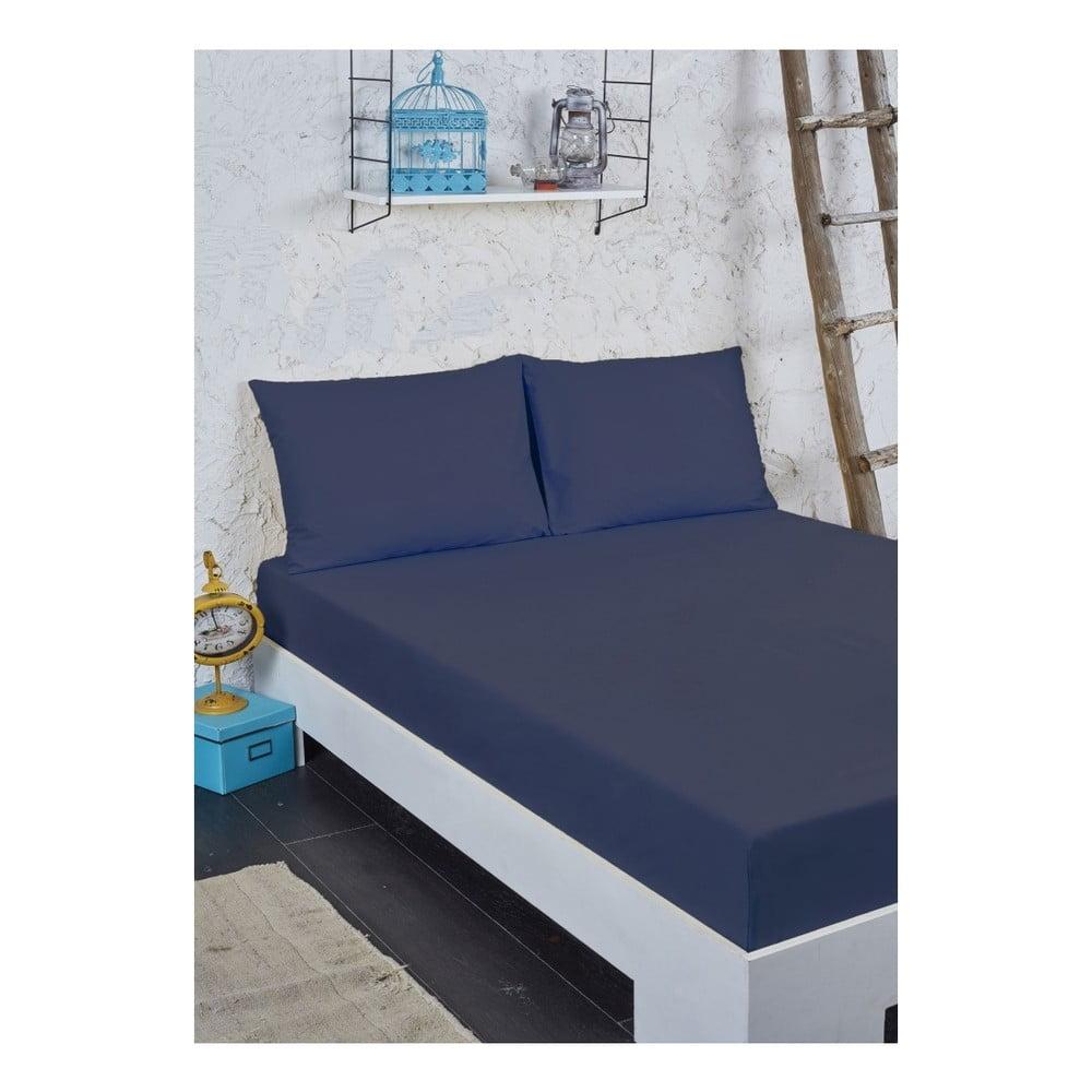 Modrý set plachty a obliečky na vankúš na jednolôžko, 100 × 200 cm