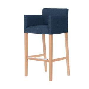 Denimová modrá barová stolička s hnedými nohami Ted Lapidus Maison Sillage