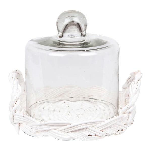 Poklop s ratanovým podnosom Glass Dome