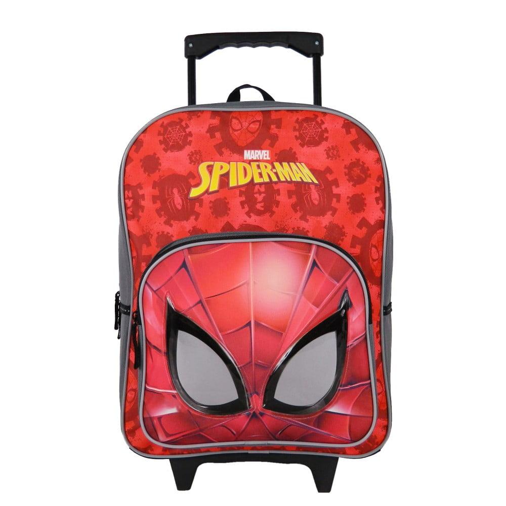 Červený školský batoh s kolieskami Bagtrotter Spiderman