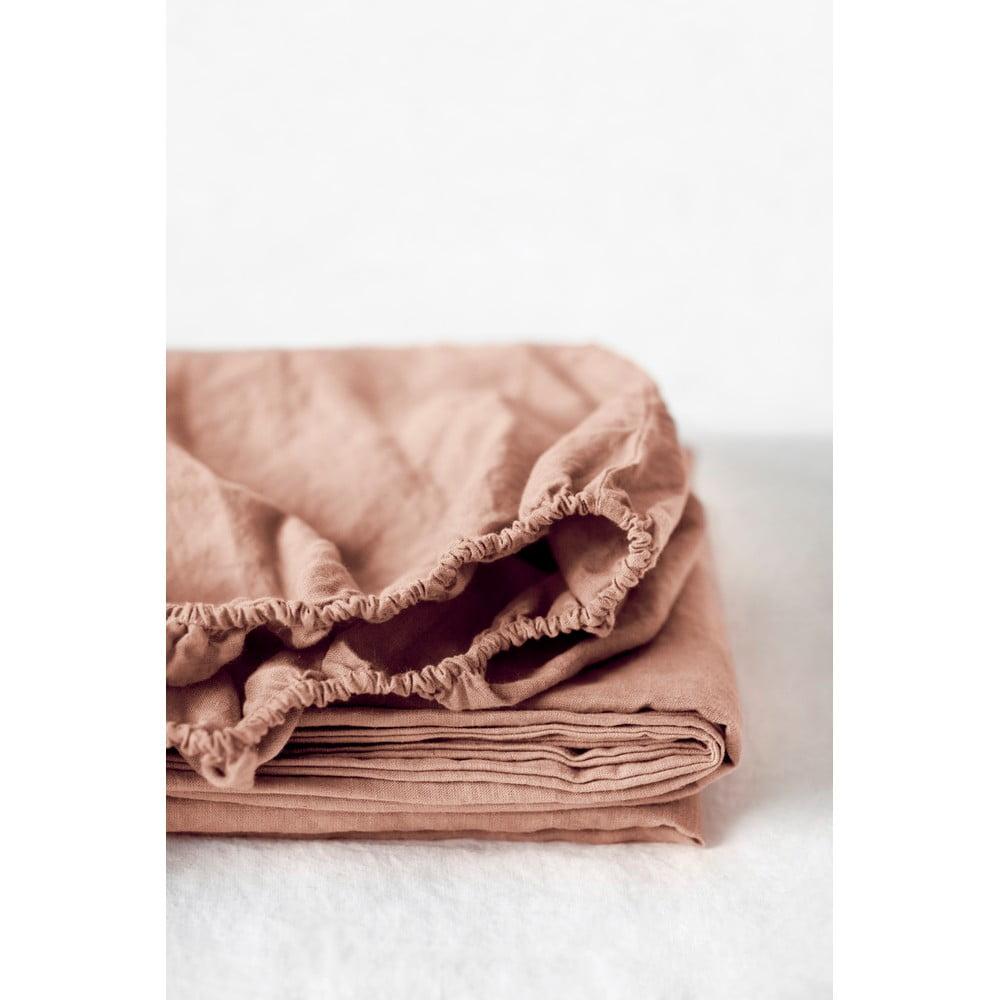 Terakotovohnedá ľanová elastická plachta Linen Tales, 180 x 200 cm