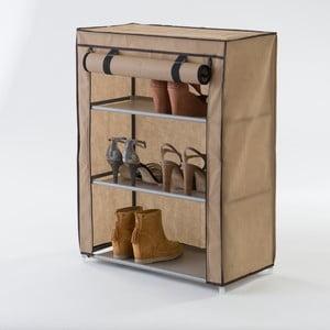 Béžový textilný trojposchodový stojan na topánky Compactor