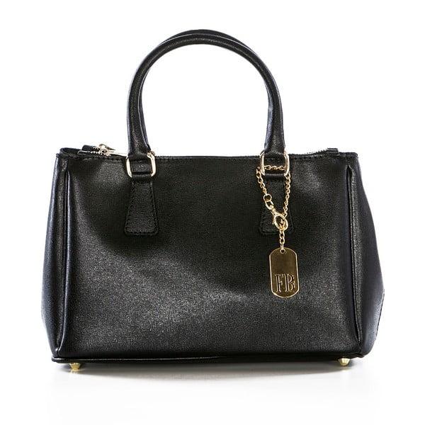 Čierna kožená kabelka Federica Bassi Saffi