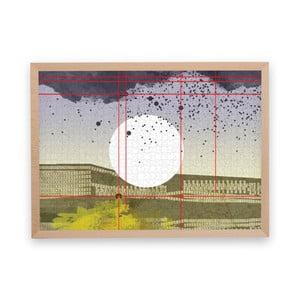 Puzzle z recyklovaných materiálov v bukovom ráme Pucle Stadttraum, 1000 dielikov