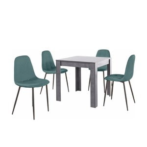 Set sivého jedálenského stola a 4 modrých jedálenských stoličiek Støraa Lori Lamar Duro