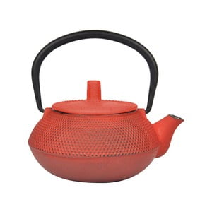 Oranžovo-červená kanvička na čaj z liatiny Bambum, 800 ml