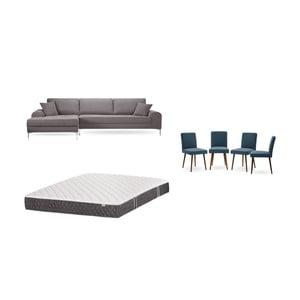 Set hnedej pohovky s leňoškou vľavo, 4 modrých stoličiek a matraca 160 × 200 cm Home Essentials