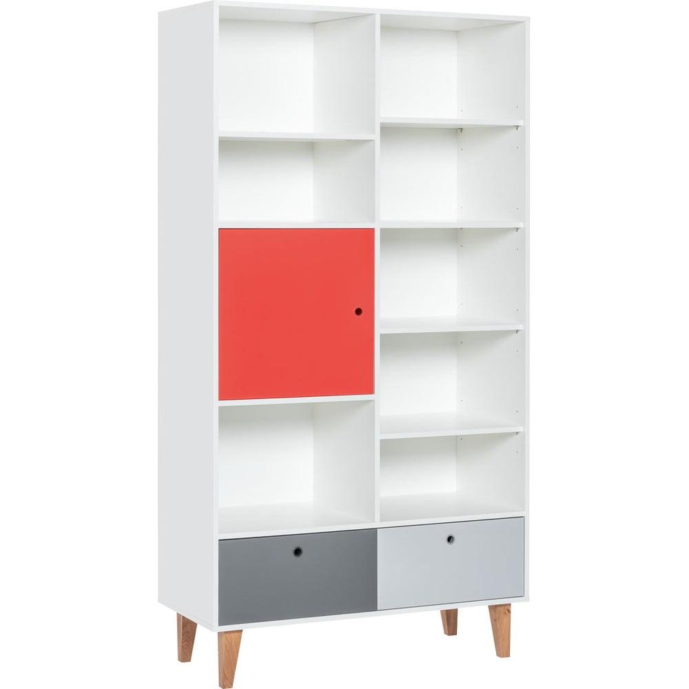 Knižnica s červenými dvierkami z dubového dreva Vox Concept, 105 × 201,5 cm