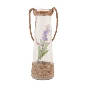 Sklenená váza s umelou kvetinou Clayre, 25 cm