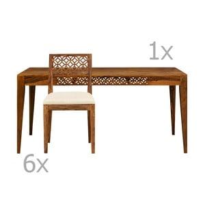 Set jedálenského stola a 6 jedálenských stoličiek z palisandrového dreva Massive Home Rosie