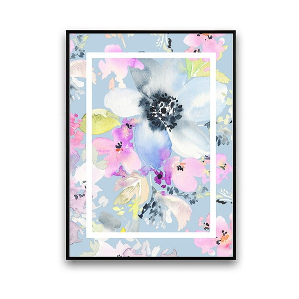 Plagát s modrými kvetmi, 30 x 40 cm