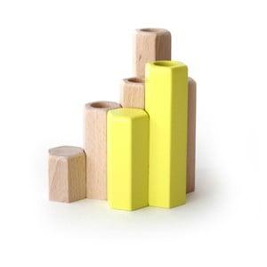 Žltý stojan na sviečky z masívneho bukového dreva HARTÔ