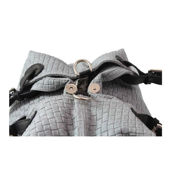 Sivá kožená kabelka Chicca Borse Bella