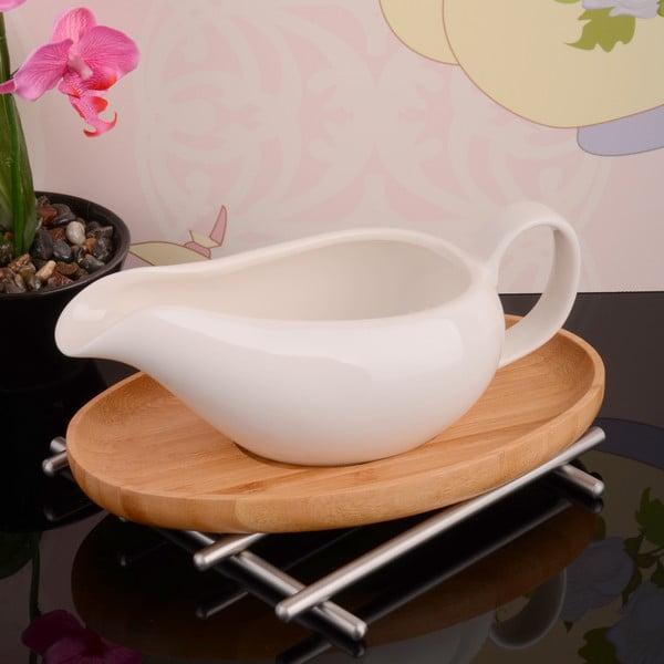 Bambusový stojan s porcelánovou miskou na omáčku Bamboo