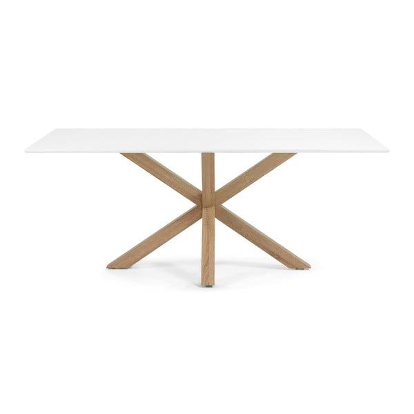 Jedálenský stôl s bielou doskou a drevenou podnožou La Forma Arya, 90 x 160 cm