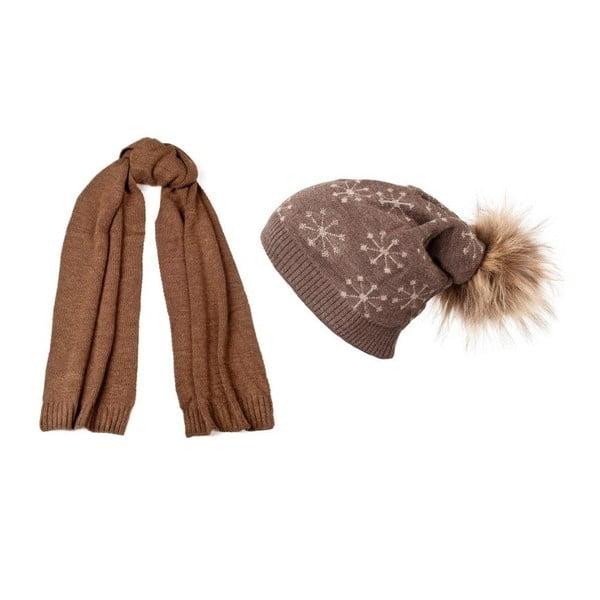 Hnedá čiapka so šálom Lavaii Pom
