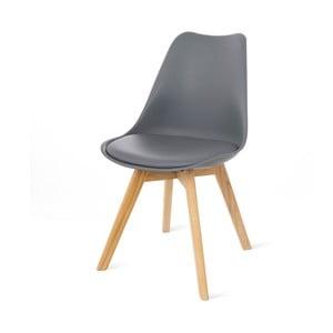 Sivá stolička s bukovými nohami loomi.design Retro