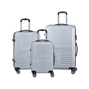 Sada 3 sivých cestovných kufrov na kolieskách so zámkom SINEQUANONE